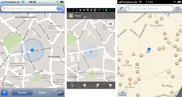 Comparison of iOS6 maps, Google maps for iOS, Android 4.11