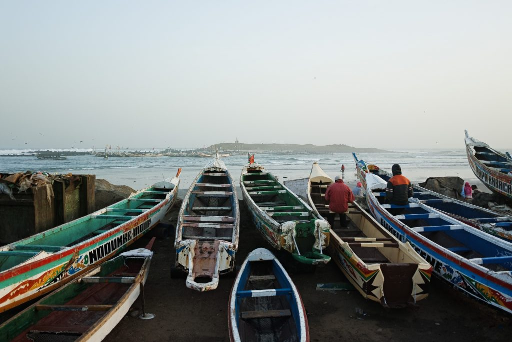 Boats in Yoff, Île de Yoff in the background